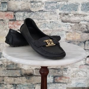 TORY BURCH Pebbled Leather Black Size 6